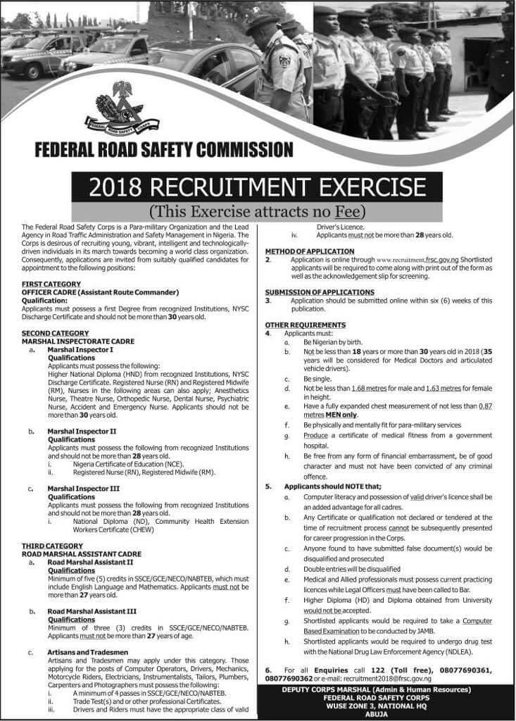 Federal Road Safety Commission 2018 Recruitment: How To