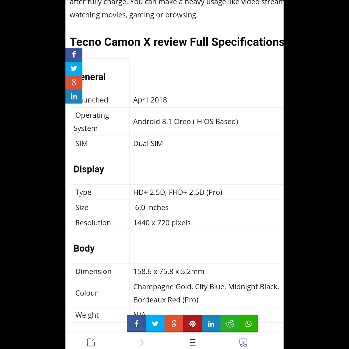 Tecno Camon X Review – Full Phone Specifications And Price