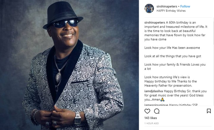 Image result for Sir Shina Peters Celebrates His 60th Birthday With Lovely Photo