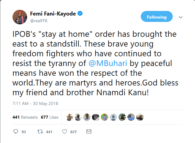 """""""IPOB's Sit At Home Order Has Brought The East To A Standstill"""" – Femi Fani-Kayode"""