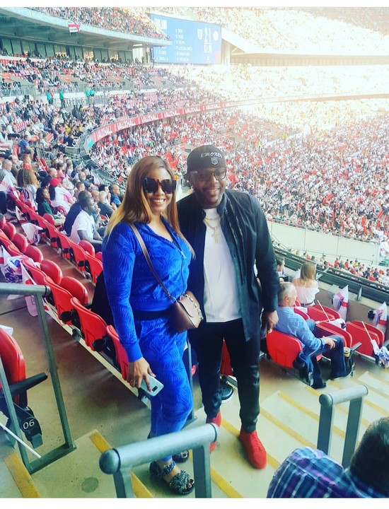 PHOTOS-  SEE  E-Money And Wife At Wembley Stadium For Nigeria Vs England Match