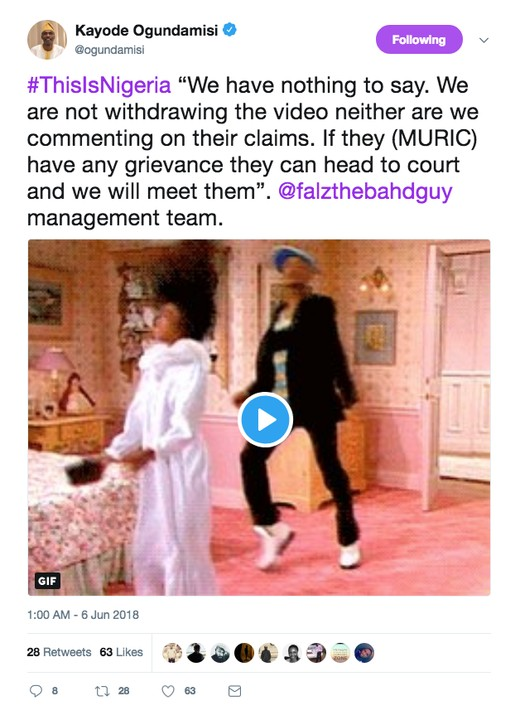 We Are Not Withdrawing 'This Is Nigeria' Video - Falz's Management Replies MURIC