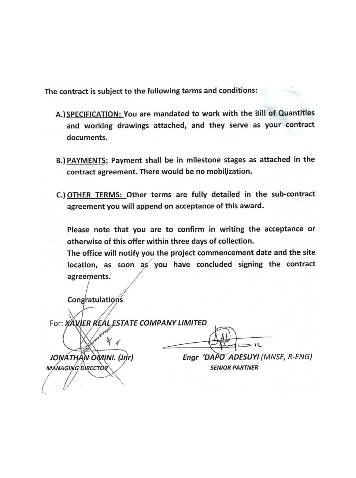 Sle letter of contract award 28 images award letter template 13 sle letter of contract award 4 bedroom bongalow construction contracts for sub lets properties nigeria thecheapjerseys Choice Image