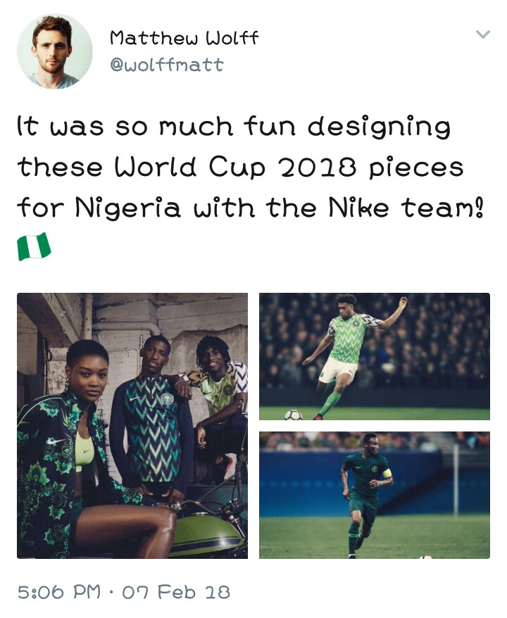 63edc29b804 Matthew Wolff Designed The Super Eagles 2018 World Cup Jersey ...