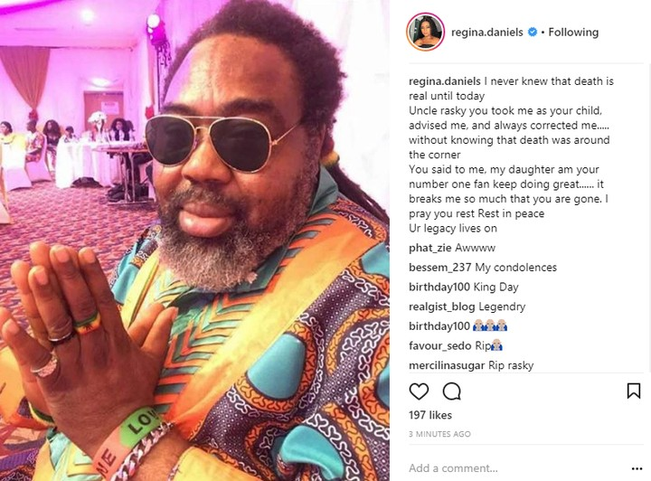 """""""I Never Knew Death Is Real Until Today"""" – Actress Regina Daniels Mourns Ras Kimono"""