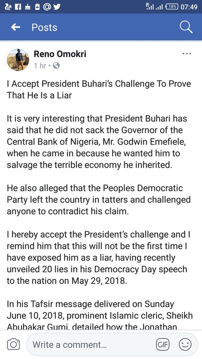 Ghen Ghen!!!! Reno Omokri Accepts Pres Buhari's Challenge : Proves He Is A Liar
