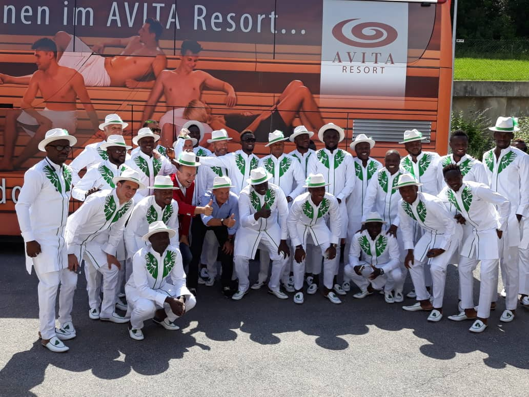 More Photos As Super Eagles Leave For Russia In Matching Green & White Outfits