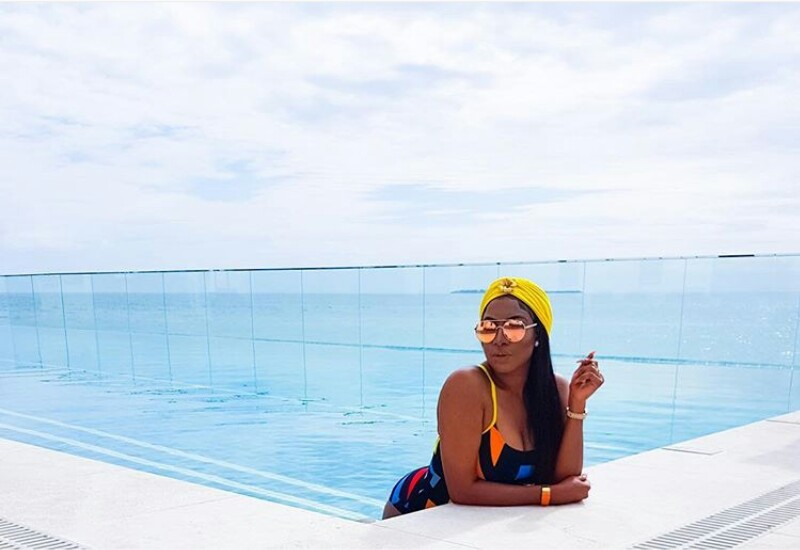 Chika Ike Hits Swimming Pool In Sexy Swimsuit [Photos]