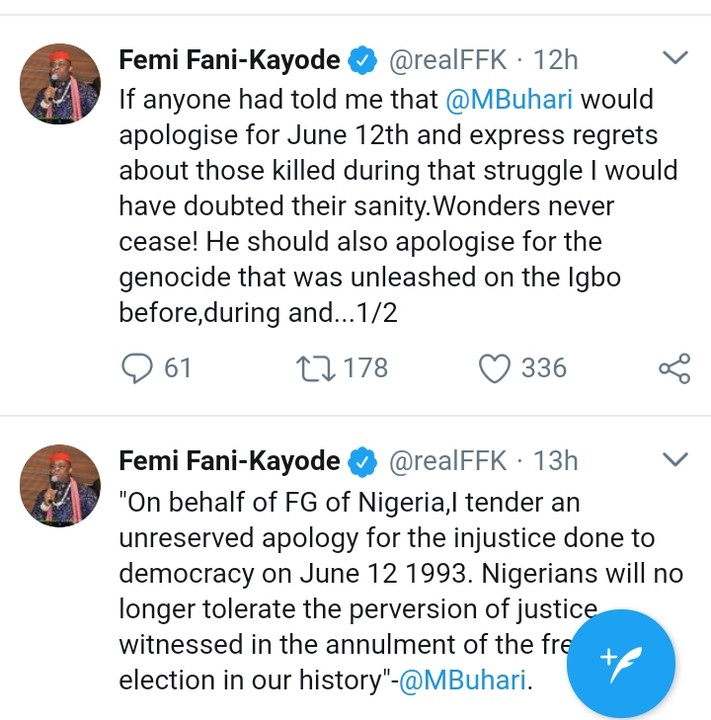 Femi Fani-Kayode Commends Buhari For His June 12 Speech