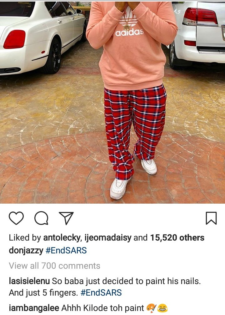 Don Jazzy Shows Off His Painted Fingernails, D'banj Reacts