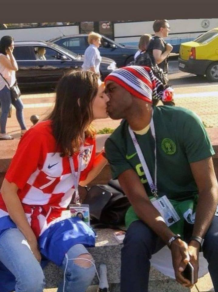 PHOTOS!!!: Nigerian Man Kisses His Croatian Girlfriend On The Street Of Russia At World Cup