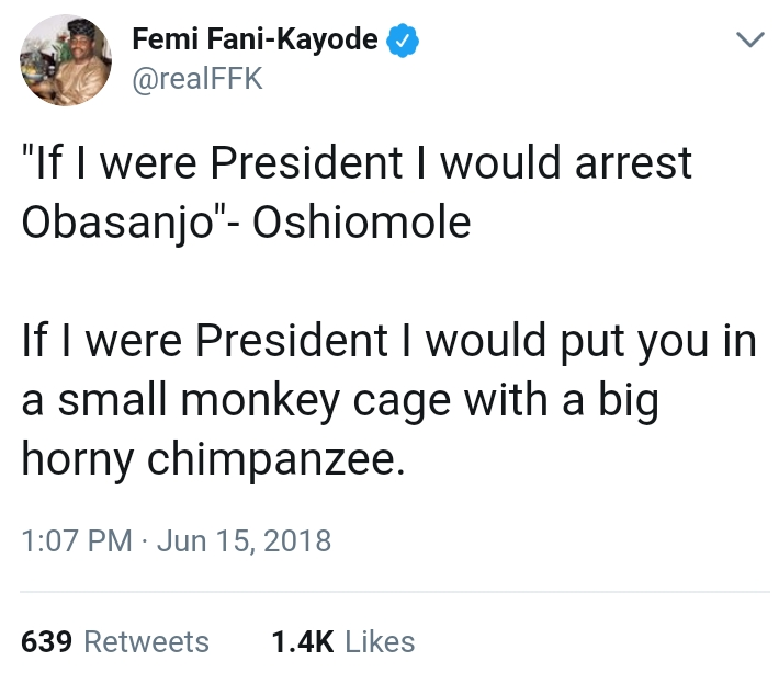 """FFK To Oshiomhole: """"I Would Put You In Small Monkey Cage With Big Hot Chimpanzee"""""""