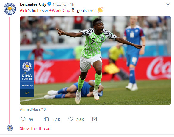 Success As Many Friends As Leicester City Celebrates Ahmed Musa As Their Own After Loaning Him To Moscow And Breaking Their World Cup Goal Record