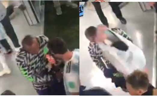 LORD!!!:  Super Eagles Goalkeeper Caught On Camera Asking Lionel Messi For His Jersey