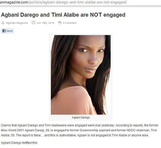 timi alaibe and agbani darego dating dbanj