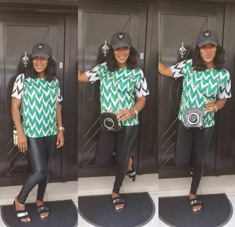 HOT!!!:  Actress Faithia Balogun Rocks Super Eagles Jersey, Urges Nigerians To Get Their PVCs