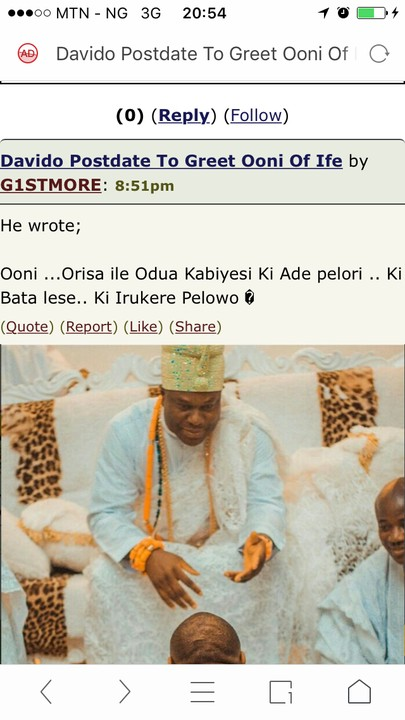 Davido prostrate to greet ooni of ife fans react photos op biko check your spelling m4hsunfo