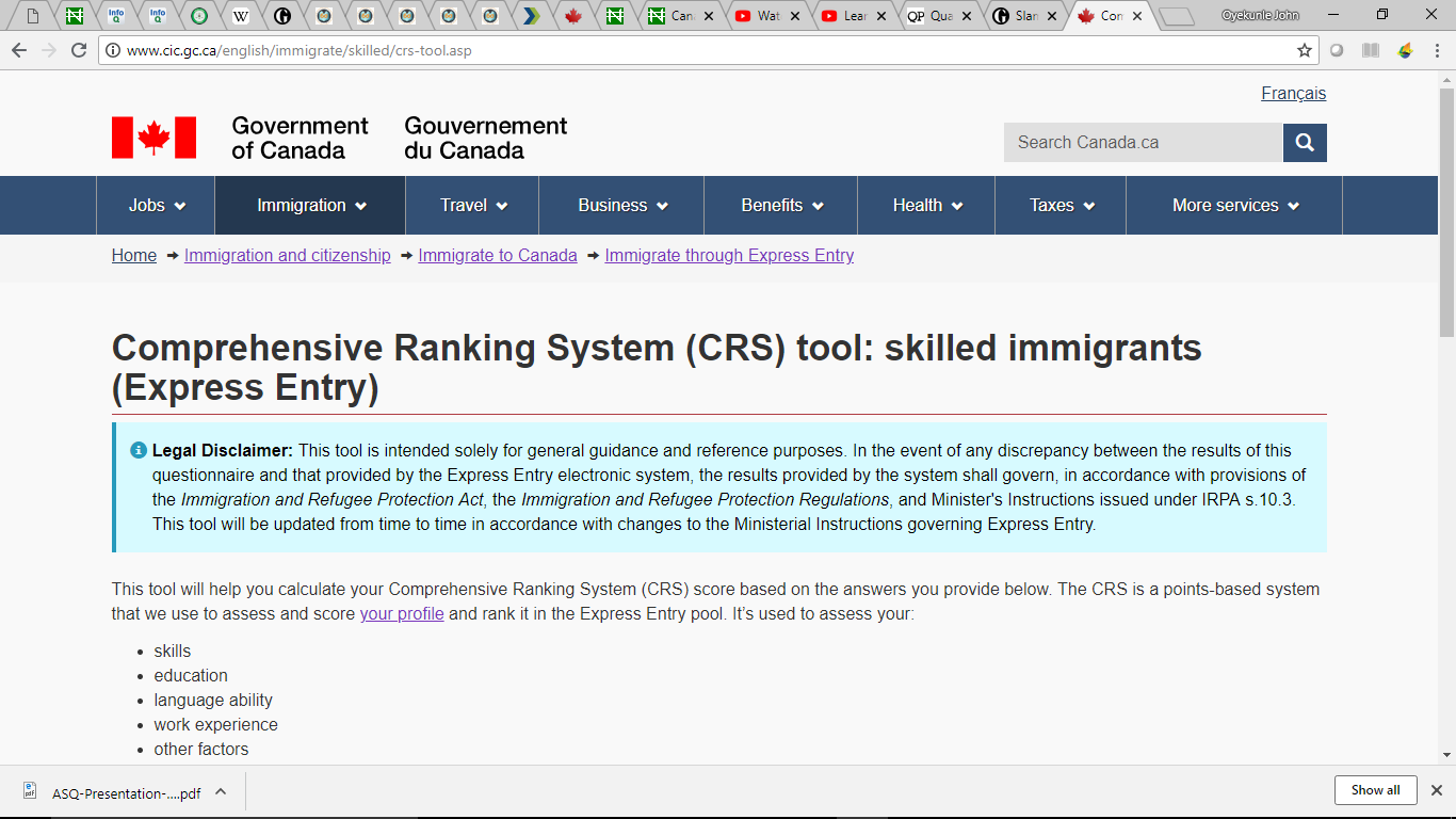 Canadian Express Entry/Federal Skilled Workers Program