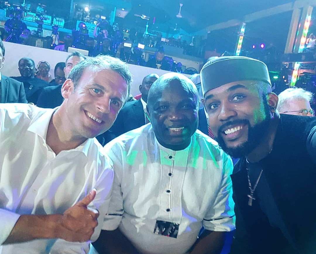 French President, Macron With Banky W and Gov. Ambode