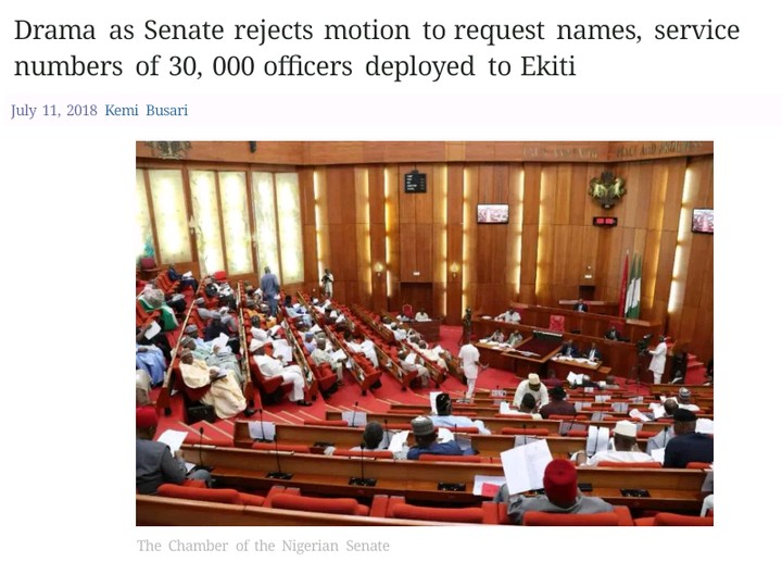 Senate Rejects Melaye's Motion To Request Details Of Officers Deployed To Ekiti