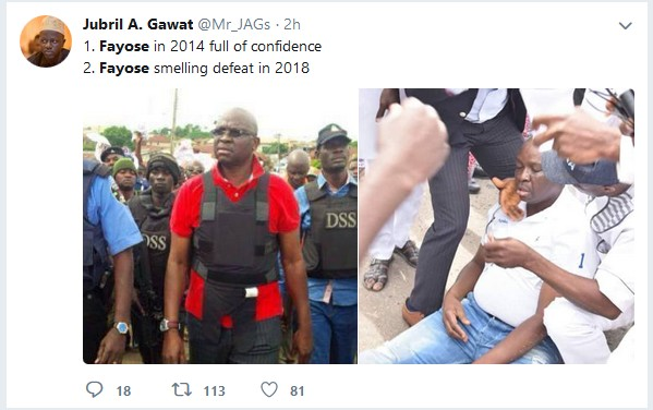 SHOCKING!!!:  Nigerians Mock Governor Fayose, Remind Him Of What Happened In 2014. Photos