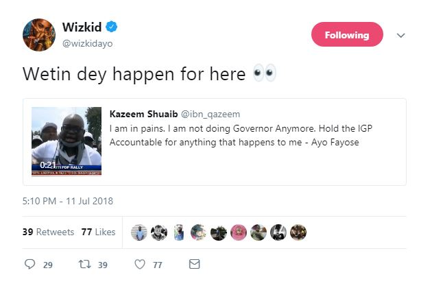 Wizkid Reacts After Fayose Collapsed When Police Fired Teargas