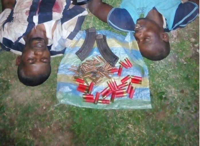 Graphic Photo Of The Armed Robbers From Onitsha Gunned Down In Ogun By Police