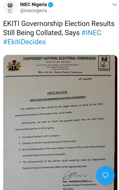 BREAKING !!!:  Ekiti Election: INEC Reacts To Results On Social Media (Screenshot)