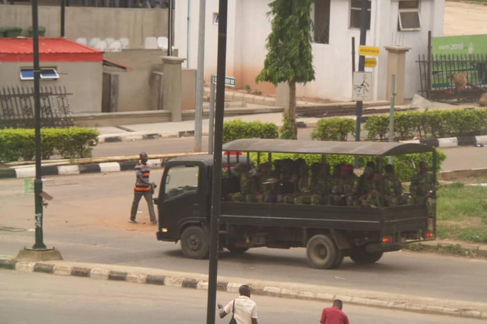 BREAKING !!!: Soldiers Patrol Round Ekiti Town Over Outcome Of Governorship Election