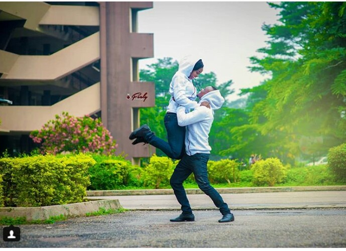 8aa756b162c Couple Rocking Super Eagles Jersey In Doggy Pre-Wedding Photos ...