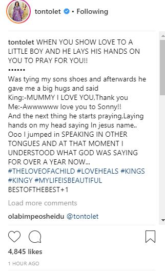 PHOTOS !!!: Tonto Dikeh's Son Laying Hands On Her Head, As He Prays For Her