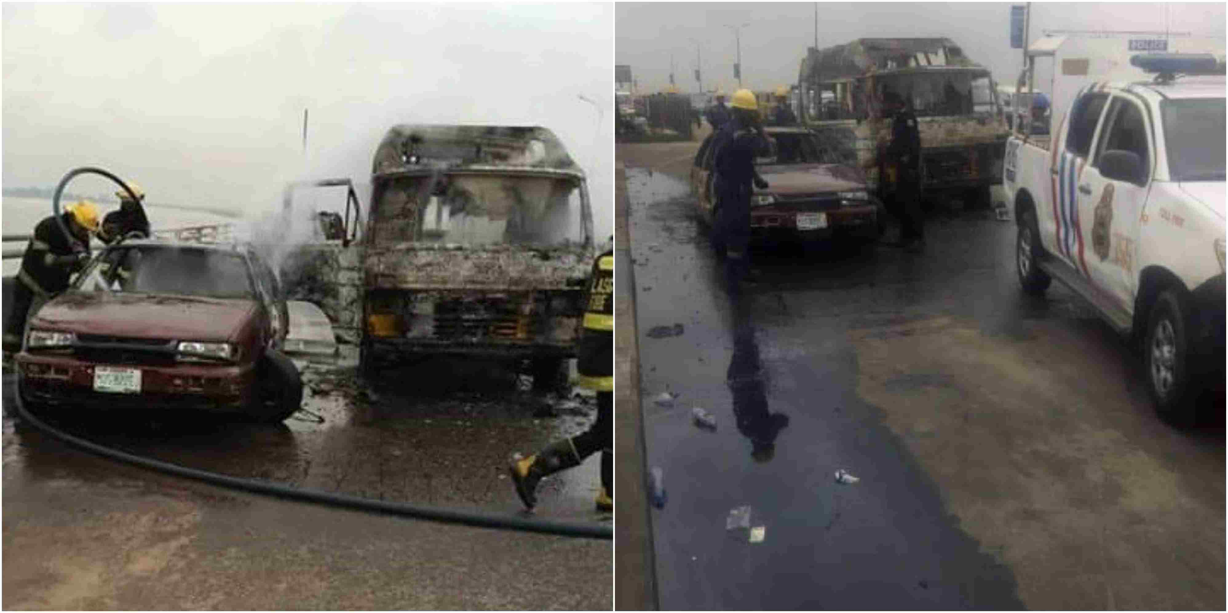 Fully Loaded Bus Catches Fire On Third Mainland Bridge (Photos)