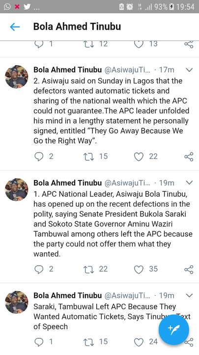 BREAKING !!!:   Tinubu Finally Speaks: 'Saraki, Tambuwal Left APC For Fear Of Buhari'