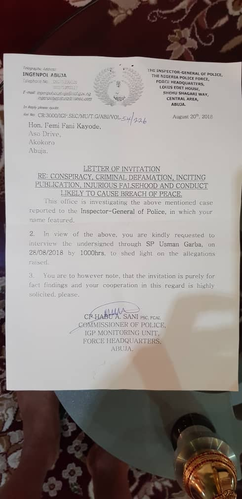 Femi Fani-Kayode Invited By The Police