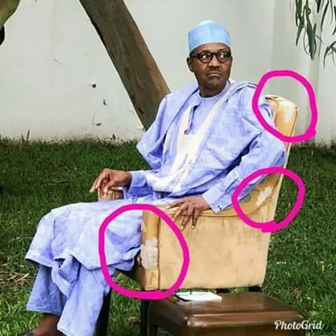 SHOCKING !!!:  Nigerians React To Photo Of President Buhari Sitting On An Old Chair