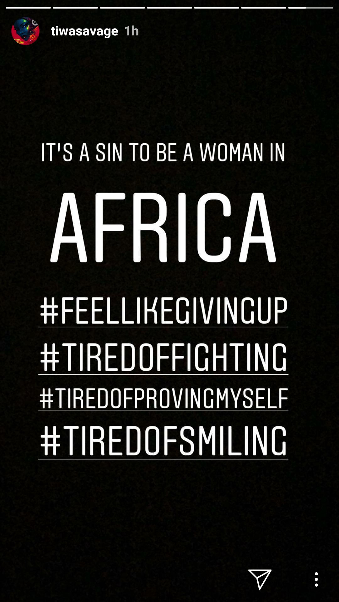 """SHOCKING !!!: Tiwa Savage – """"It's A Sin To Be A Woman In Africa, I Feel Like Giving Up"""""""