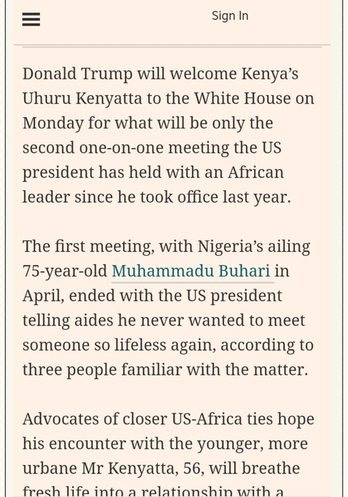 Trump Called Buhari 'Most Lifeless Person' He's Ever Met – Financial Times