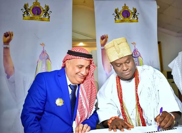 BREAKING !!!:  Ooni Of Ife Signs $800m Mou With Arab Billionaire, Ahmad Bin (Photos)