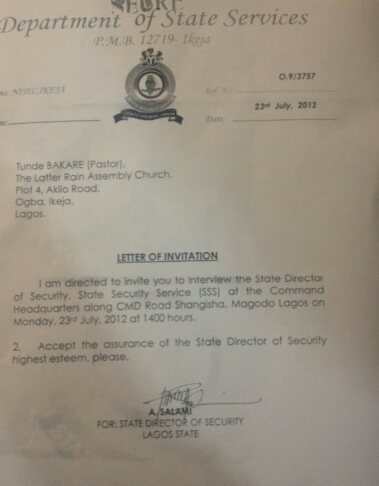 Sss Invitation Letter To Pastor Bakare Picture Religion Nigeria