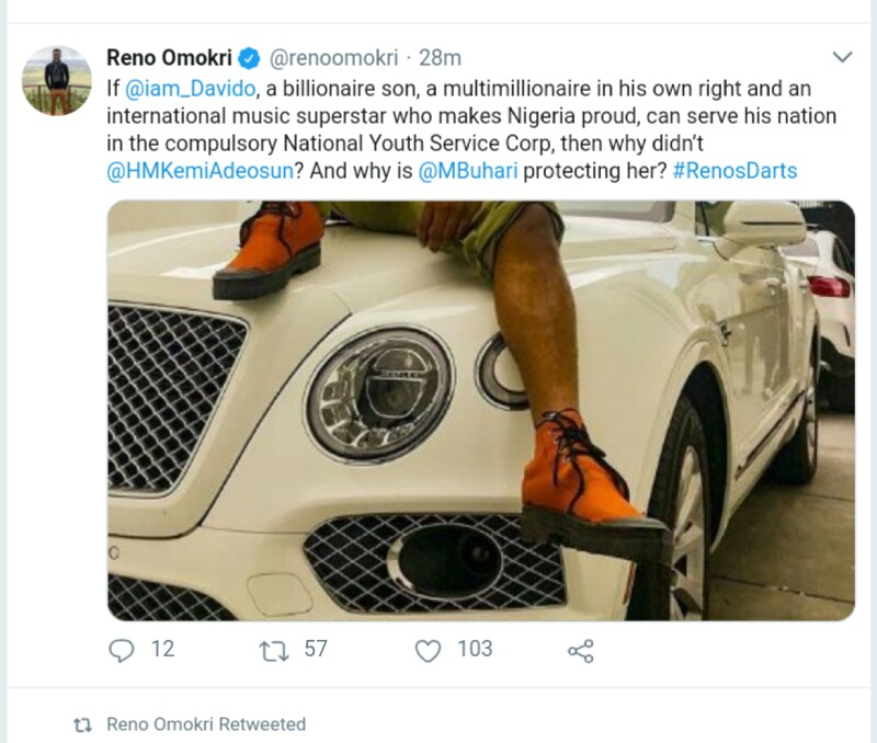 NYSC: Reno Omokri Reacts To Davido Serving Nigeria Despite Being A Superstar