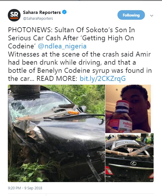 7742004 screenshot3 jpeg96647f10afbbedde0709206e8c8ff91a - Sultan Of Sokoto's Son In Serious Car Crash After 'Getting High On Code (photos)