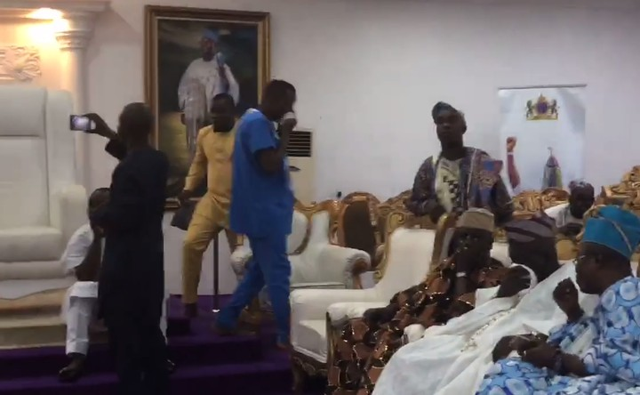 Tear Gas Fired At Ooni Of Ife During Sowore's Visit (Photos)