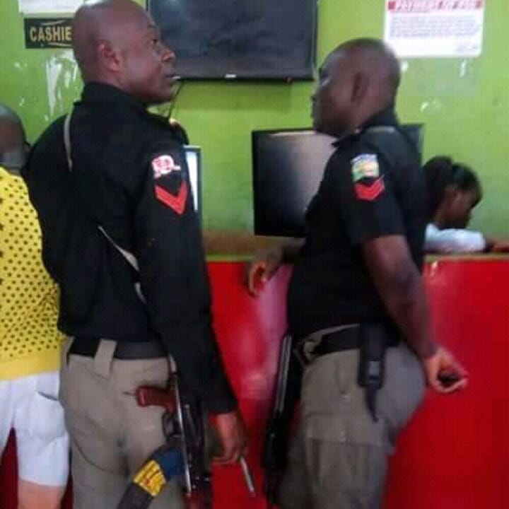 Nigeria Police Officers Pictured At Bet9ja (gambling ) Shop