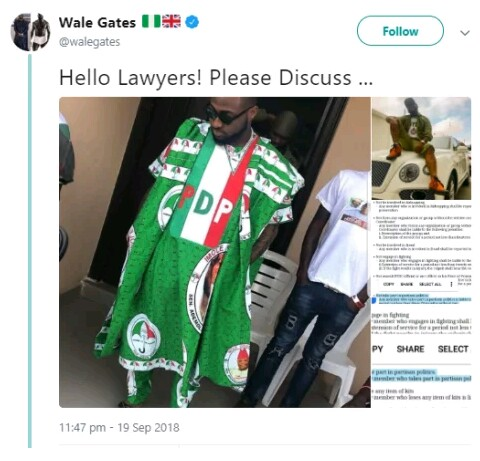 Wale Gates: Davido Is Flouting NYSC Rules & Liable To Be Penalized