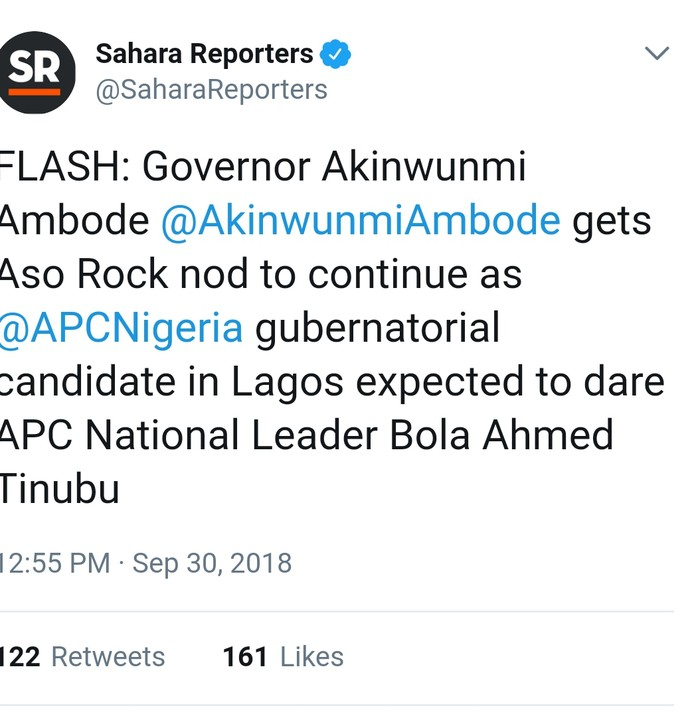 Aso Rock Insists Ambode Is Lagos APC Candidate Against Tinubu's Choice