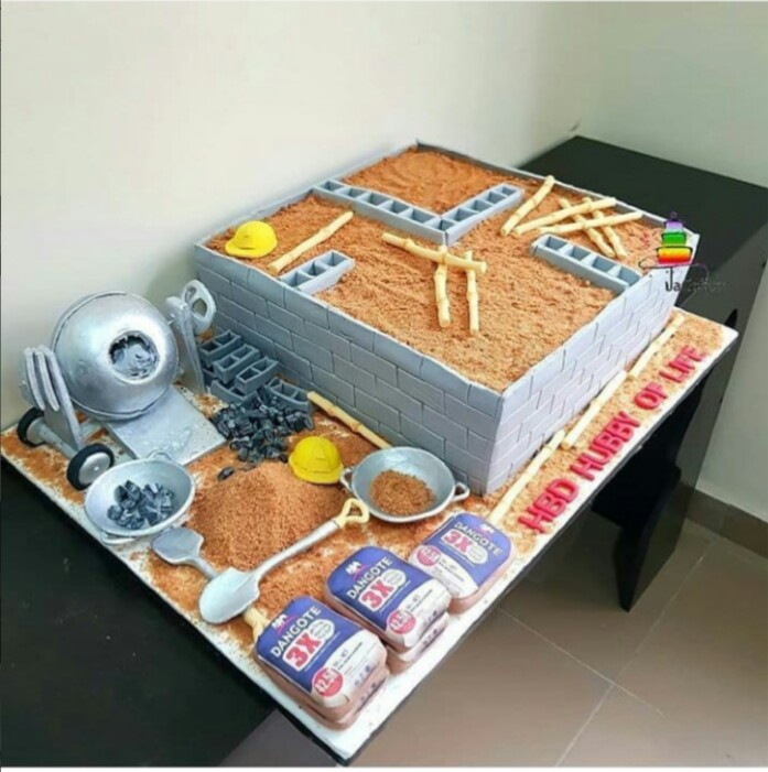 The Bricklayer Birthday Cake Wife Presented To Her Husband Photo