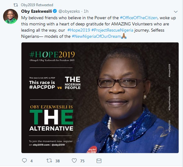 Image result for 2019 Elections: Oby Ezekwesili Seeks Public Support; Releases Bank Details