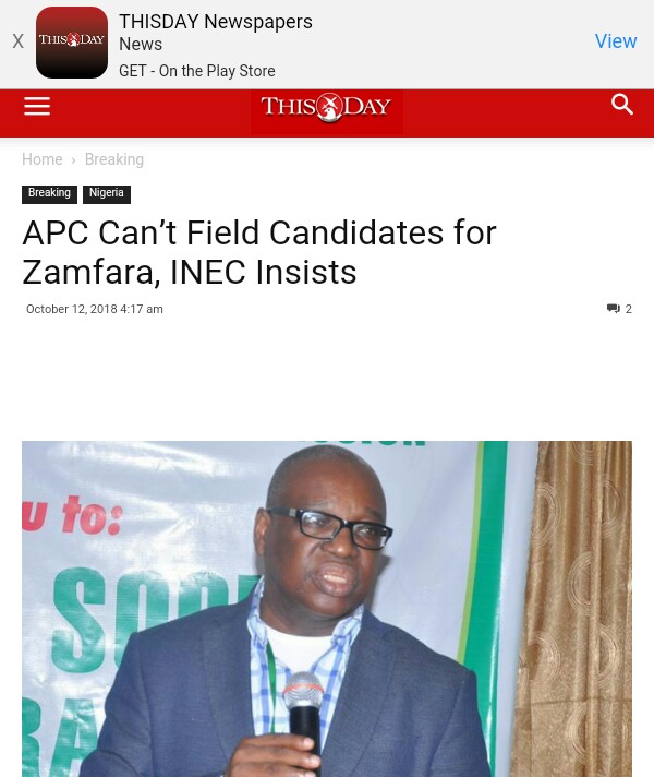 APC Can't Field Candidates For Zamfara, INEC Insists