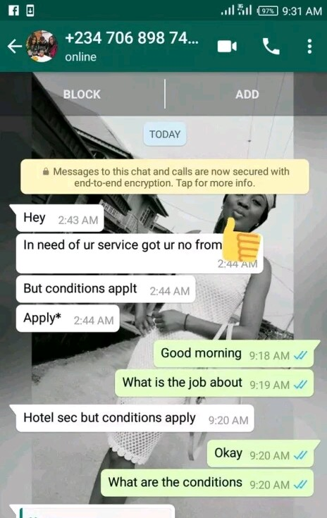 Lady Shares Screenshot Of Chat With A Man Who Offered Her A Job With 'Condition'