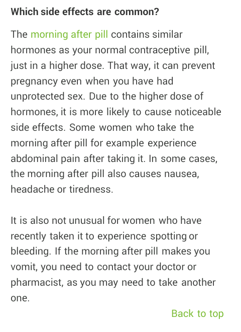 Effects after sex Side